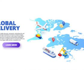 Global delivery concept illustration vector