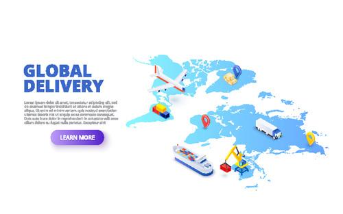 Global delivery concept illustration vector