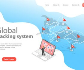Global tracking system concept illustration vector
