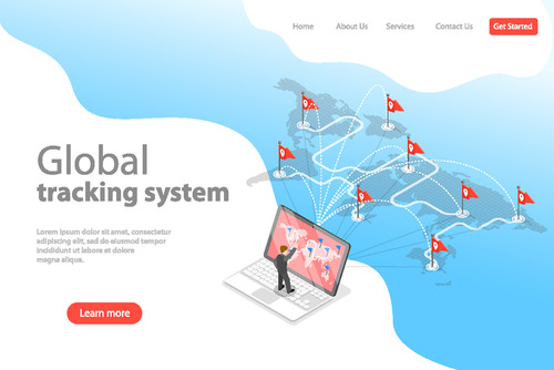 Global tracking system concept illustration vector