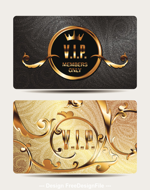 Gold VIP cards with floral design elements vector