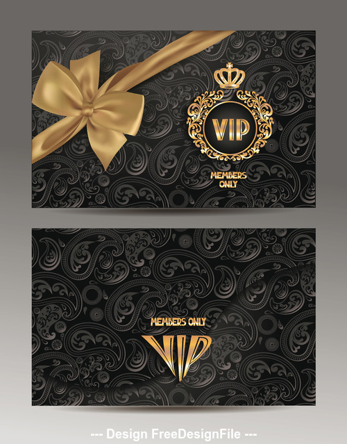 Gold and black envelopes with floral design and gold silk ribbon vector