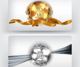 Gold and silver card with sparkling ribbons Vector illustration