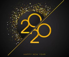 Gold line crossbar 2020 new year digital vector