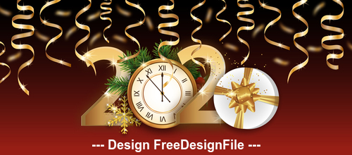 Gold ribbon decoration 2020 new year greeting card vector