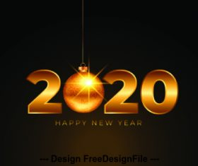 Golden 2020 digital happy new year vector