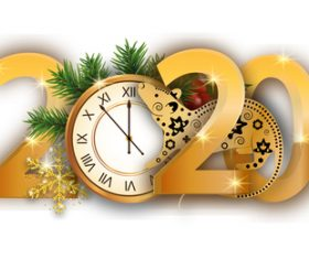Golden 2020 new year vector