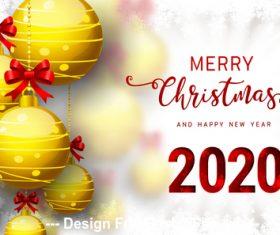 Golden ball decoration pendant 2020 christmas card vector