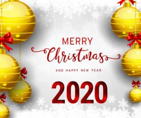 Golden ball pendant 2020 christmas card vector