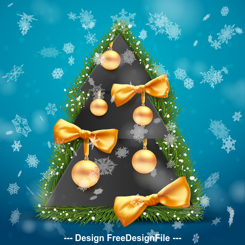 Golden decorative ball on christmas tree vector