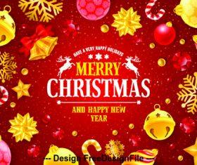 Golden decorative christmas card vector