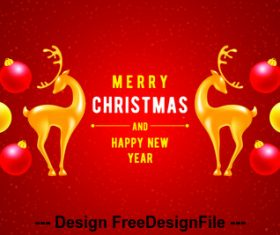 Golden deer decoration christmas card vector