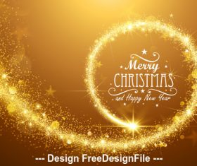 Golden flickering lights christmas card vector