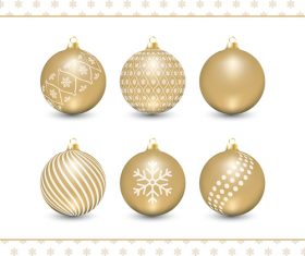 Golden holiday decoration balls vector