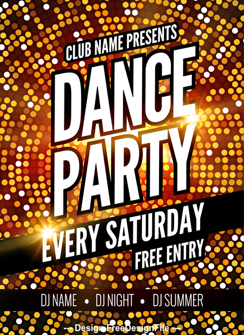 Golden shiny background club disco flyer vector