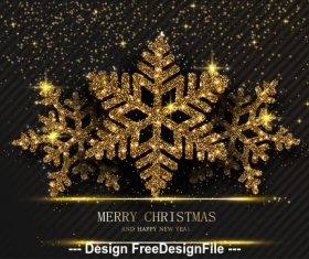 Golden snowflake Christmas card vector