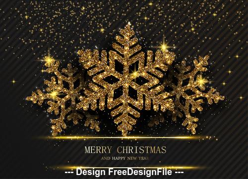 Golden snowflake Christmas card vector