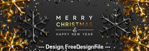 Golden snowflake decoration merry christmas banner vector