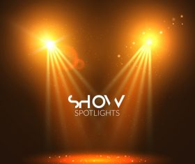 Golden stage lighting vector