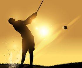Golfer swing silhouette vector