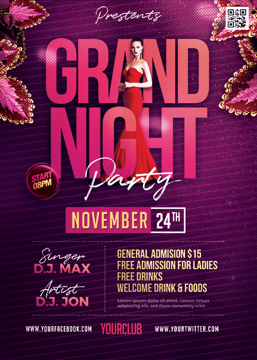Grand Night Party Flyer PSD Template
