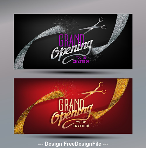 Grand Opening banners with abstract gold and silver ribbons and scissors vector