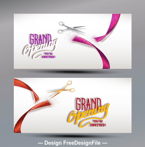 Grand Opening banners with abstract red and pink ribbon and scissors vector