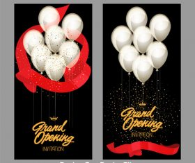 Grand opening cards with gold starry confetti and red glossy ribbons Vector illustration