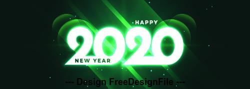 Green 2020 digital design happy new year vector