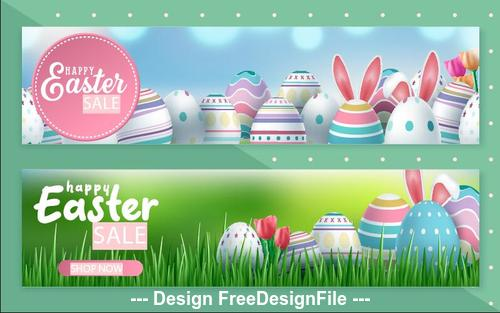 Green background easter sale banner vector