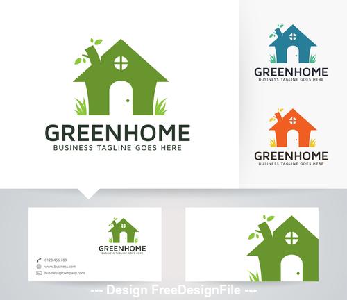 Green home logo vector