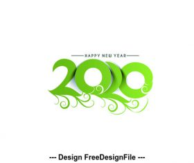 Green number 2020 background vector