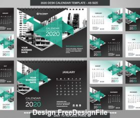 Green triangle new year wall calendar template vector