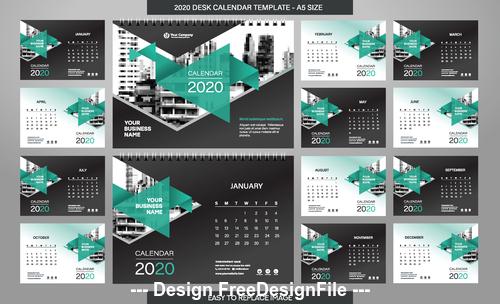 Green triangle new year wall calendar template vector