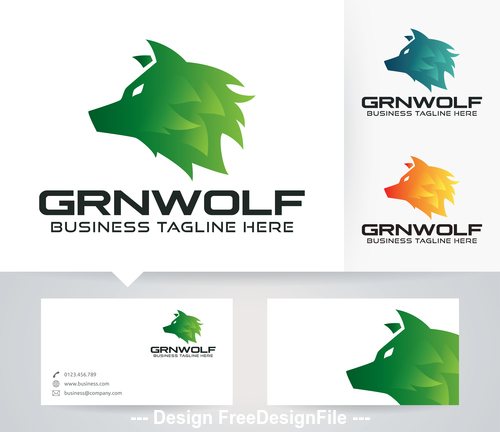 Green wolf logo vector