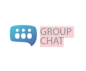 Group chat logo template vector