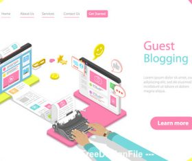Guest blogging concept illustration vector