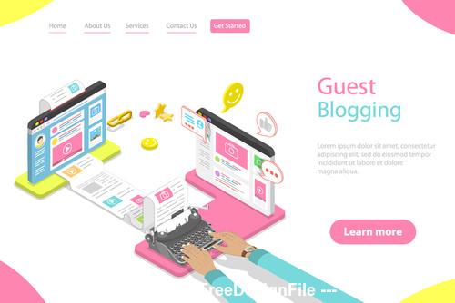 Guest blogging concept illustration vector