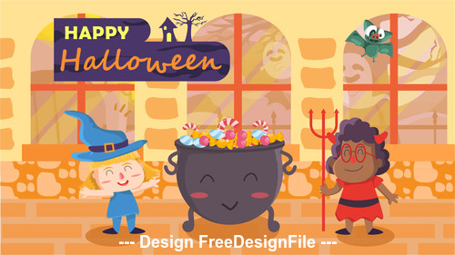 Halloween cartoon Illustration vector