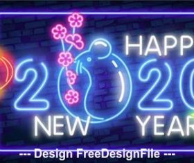 Happy 2020 new year neon greeting card vector