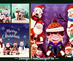 Happy Christmas illustration collection vector
