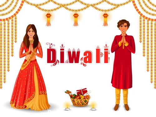Happy Diwali festival holiday of India vector