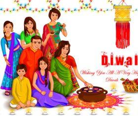 Happy Diwali of India vector