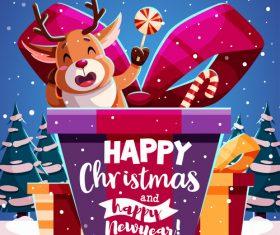 Happy christmas and new year design illustration vector