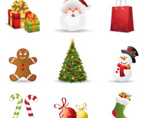 Happy christmas icons vector