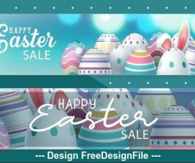 Happy easter sale banner vector