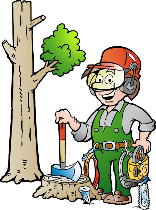Happy forest worker cartoon vector