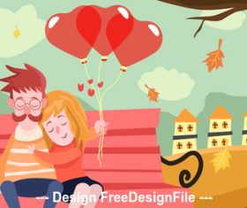 Happy loving with balloons vector