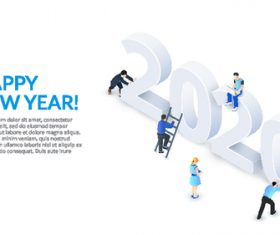 Happy new year 3D concept illustration vector