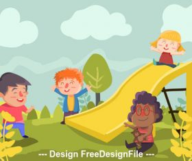 Happy outing cartoon illustration vector